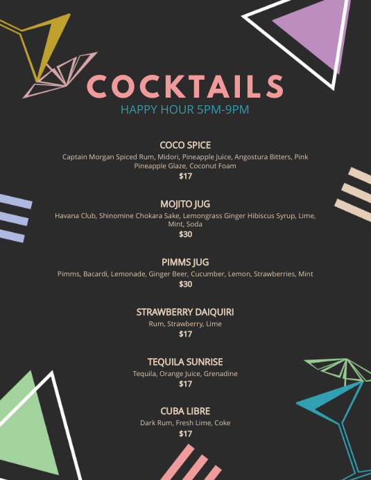 Bar Cocktail Menu Template PosterMyWall