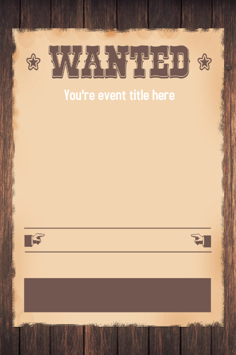 wanted western themed party invitation