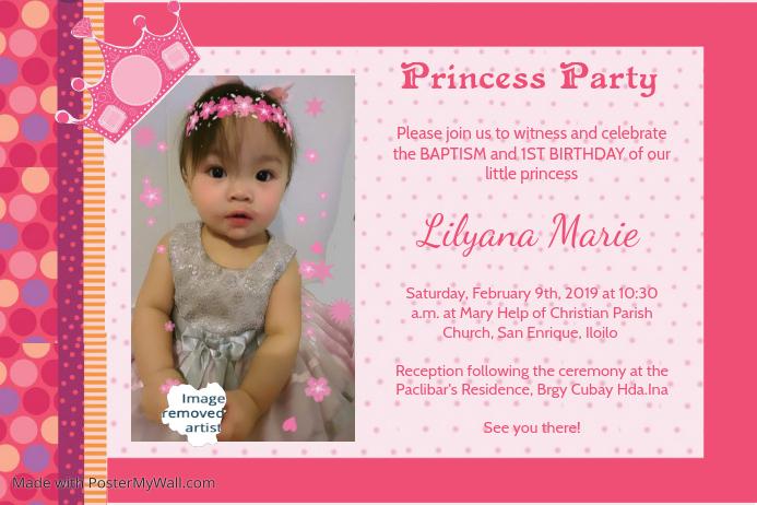 1st birthday and christening invitation