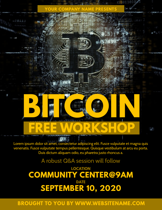 Bitcoin Workshop Flyer Template PosterMyWall