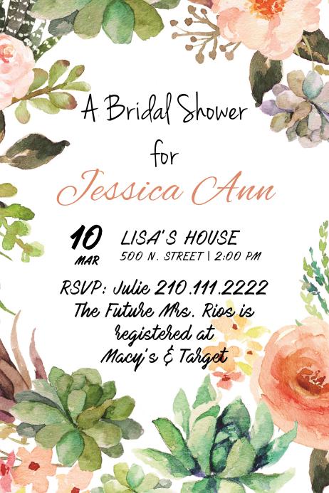 blooming bride invite template