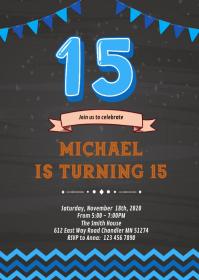 15th birthday card customizable design