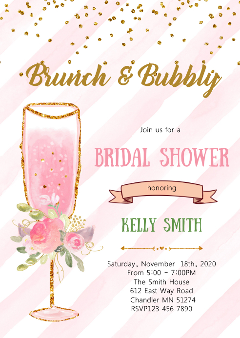 brunch und bubbly party invitation