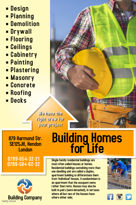 Building Company Flyer Template PosterMyWall
