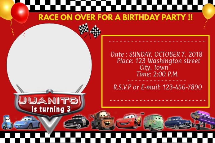 cars disney birthday invitation