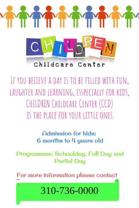Copy Of Child Care Center Template Postermywall