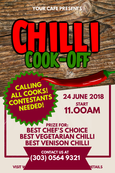 Copy of Chili CookOff Contest Poster Template  PosterMyWall