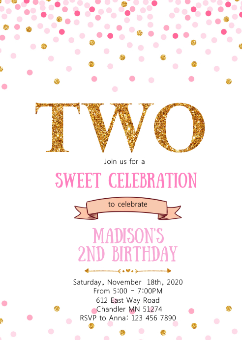 confetti 2nd birthday party invitation