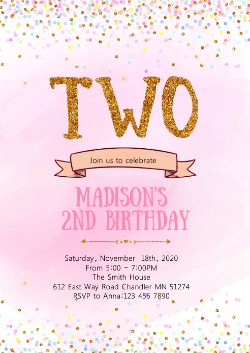 confetti second birthday invitation