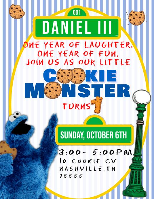 cookie monster 1st birthday invitation