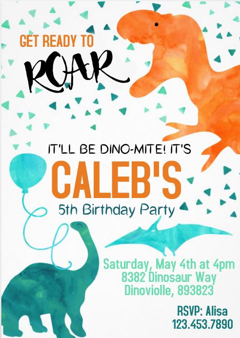dinosaur party birthday invitation 08