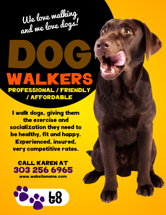 Dog Walkers Flyer Template PosterMyWall
