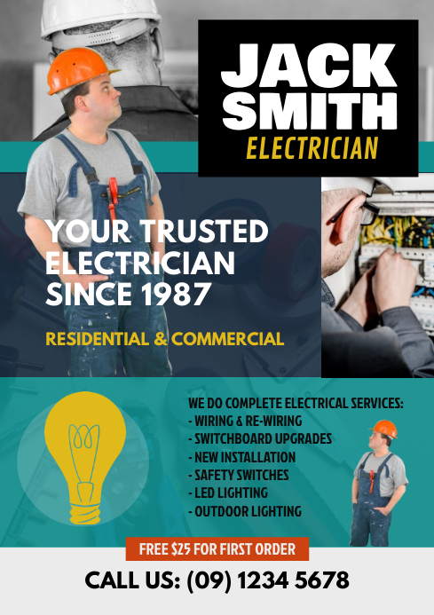electrician flyer template postermywall