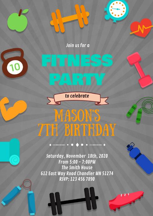 fitness birthday party theme invitation