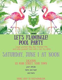 flamingo birthday invitation template