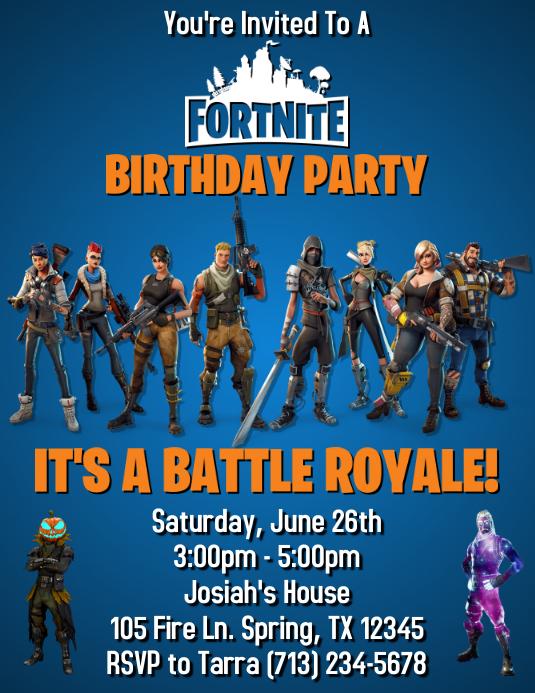 fortnite birthday invitation template