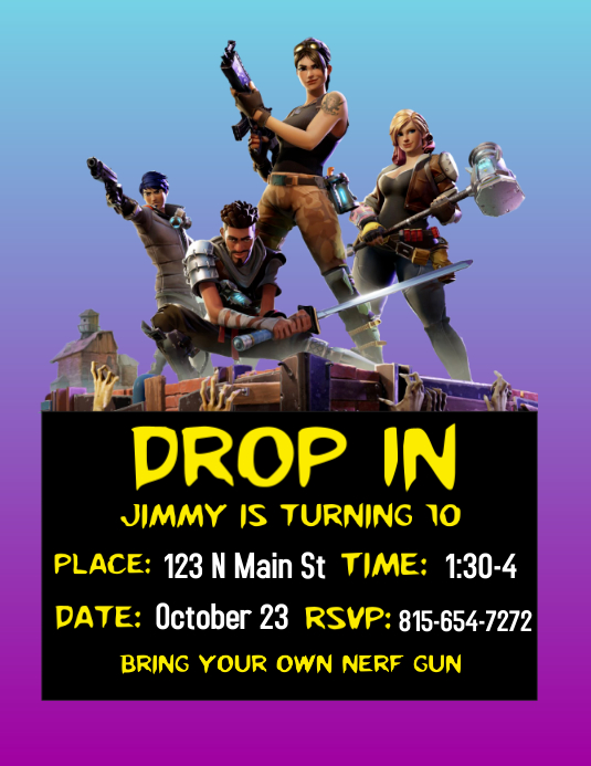 Letter N Fortnite : letter, fortnite, Fortnite, Party, Invite, Template, PosterMyWall