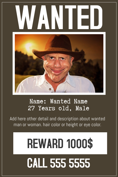 Funny Wanted Posters : funny, wanted, posters, Funny, Wanted, Poster, Flyer, Template, PosterMyWall