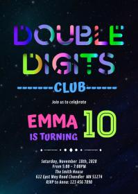 glow double digits birthday invitation