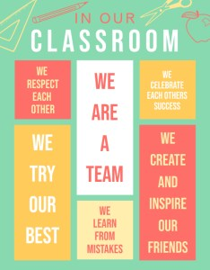 Green class rules chart poster template printable also postermywall rh