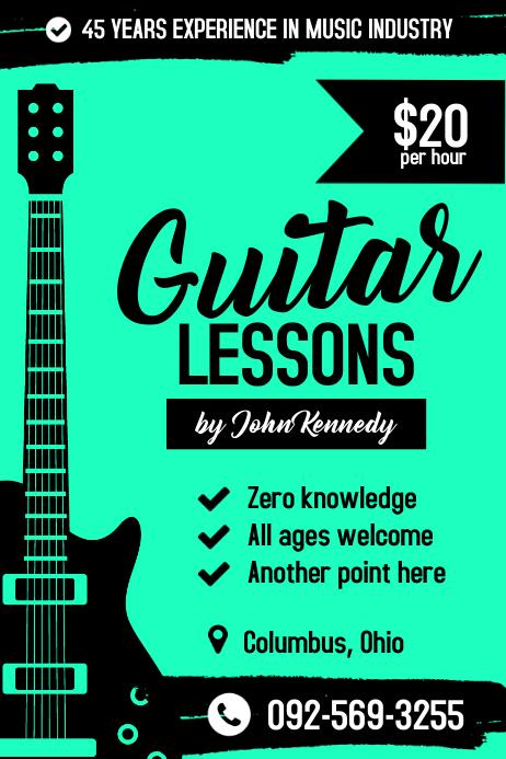 gitarrenunterricht poster vorlage