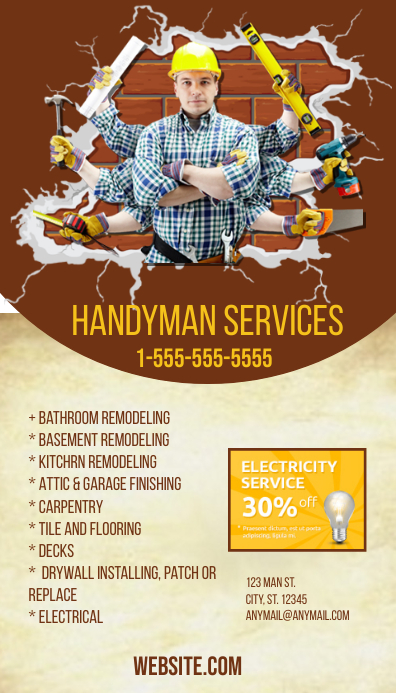 Handyman Business Card Template PosterMyWall