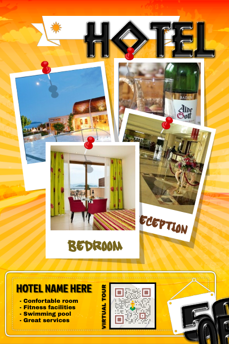 Hotel Promotion Flyer With A Virtual Tour QR Code Template