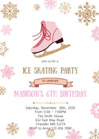 11 370 ice skating birthday invitation