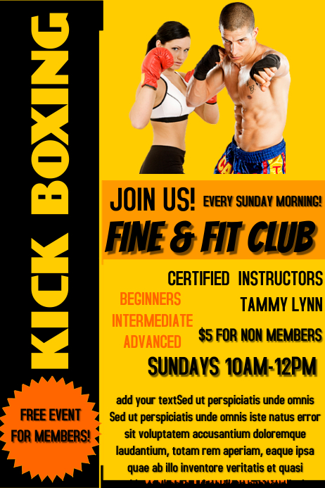Kickboxing Poster Templates PosterMyWall