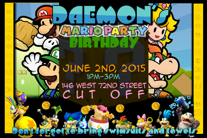 mario bros birthday party invitation