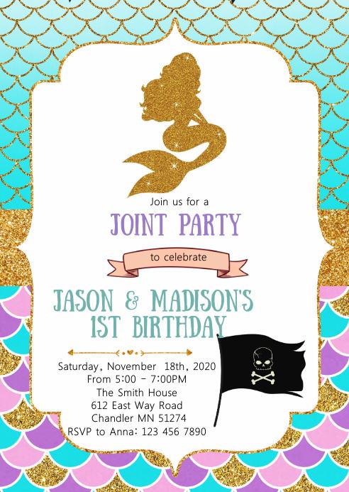 mermaid and pirates birthday invitation