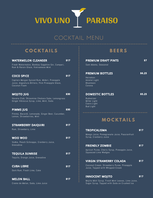 Minimal Cocktail Menu Template PosterMyWall