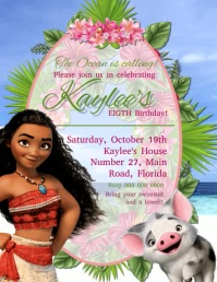 moana birthday invitation customizable