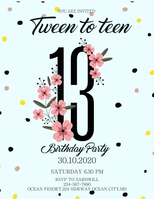 modern 13th birthday invitation