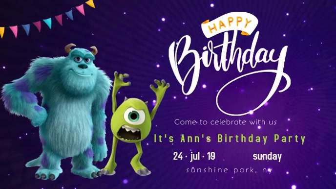 monsters inc birthday party invitation video