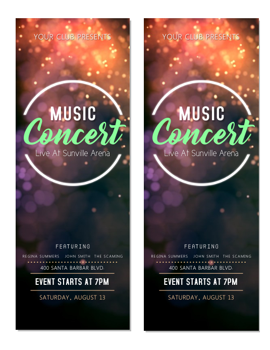 Music Concert Tickets Template  PosterMyWall