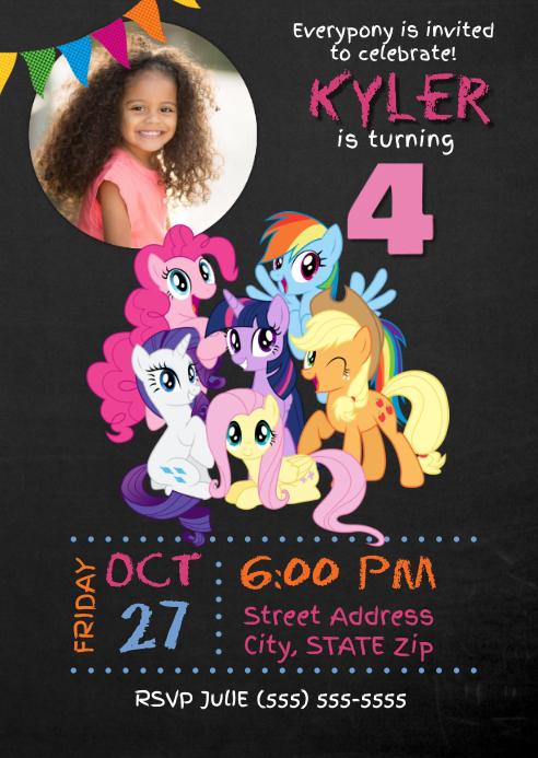 meine kleine pony geburtstagseinladung