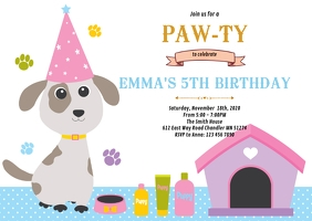 dog birthday invitation customizable