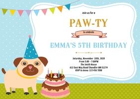 dog birthday invitation customizable