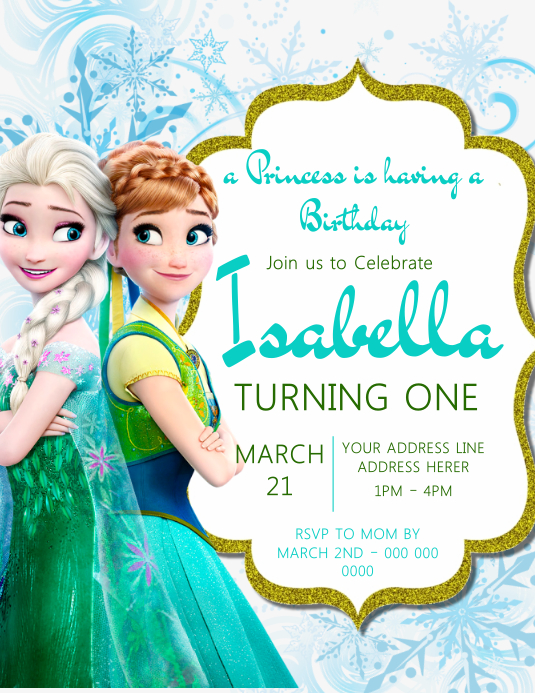 princess frozen invitation template