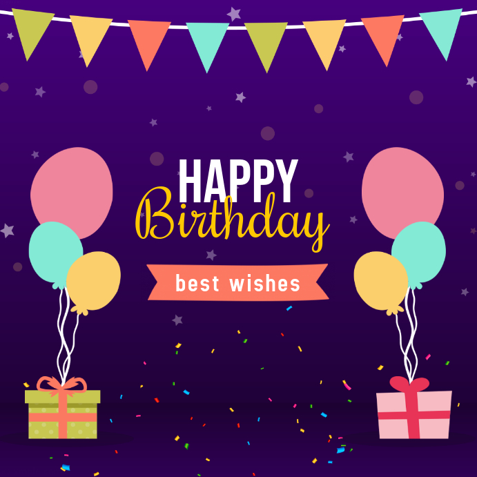 Purple Birthday Wish Instagram Post Template PosterMyWall