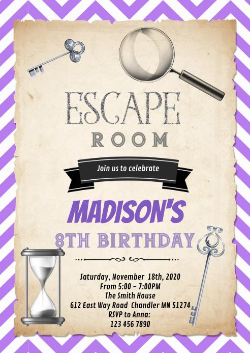 purple silver escape room birthday