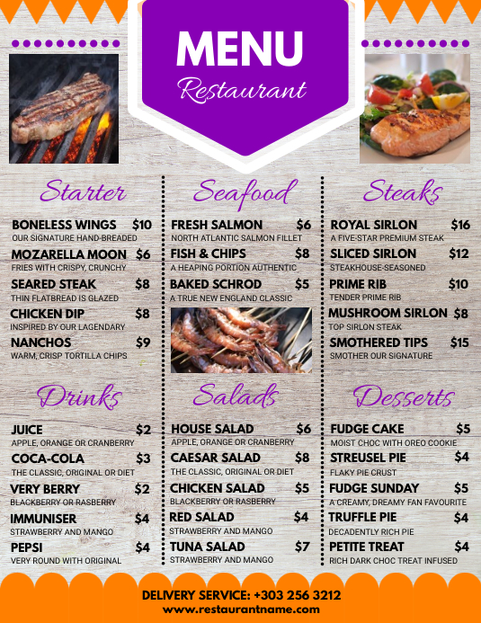Copy Of Restaurant Menu Restaurant Flyer PosterMyWall