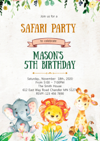 11 440 safari birthday invitation