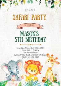 11 450 safari birthday invitation