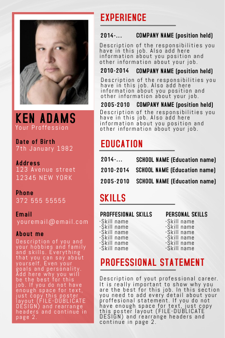 Simple Professional Resume CV Poster Flyer Template
