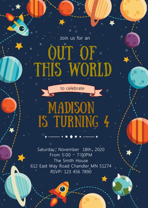 space birthday party invitation