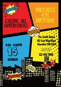 superhero party customizable design