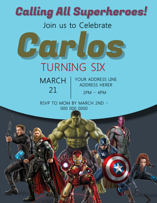 the avengers kids party invitation
