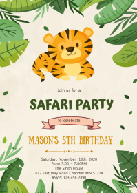 jungle birthday invitation customizable
